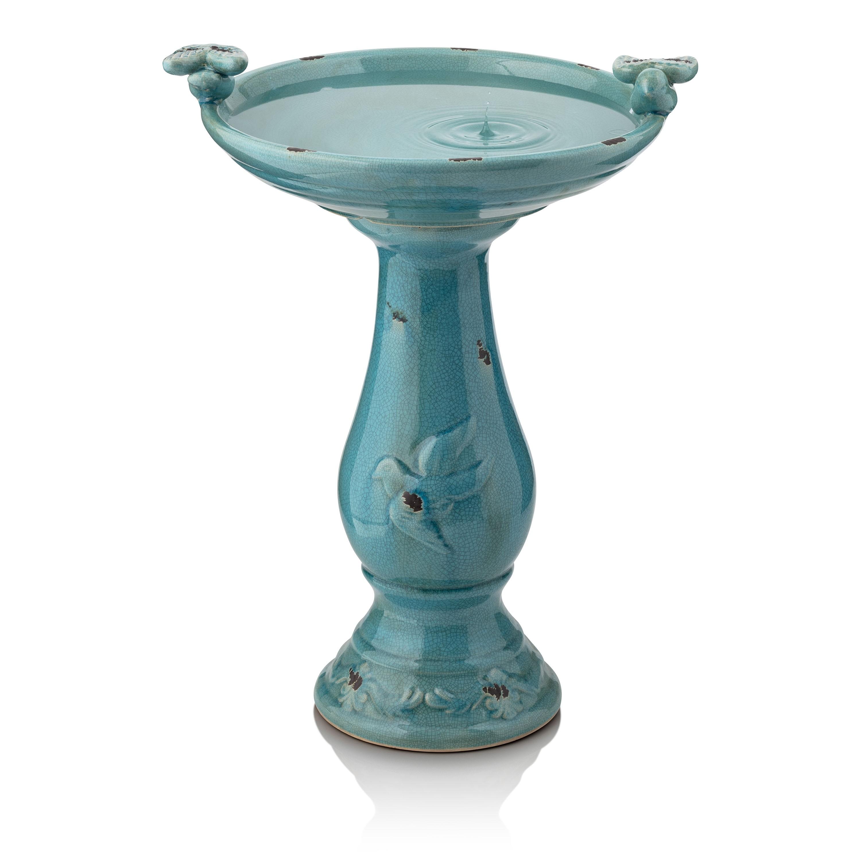 Antique Light Turquoise Ceramic Birdbath