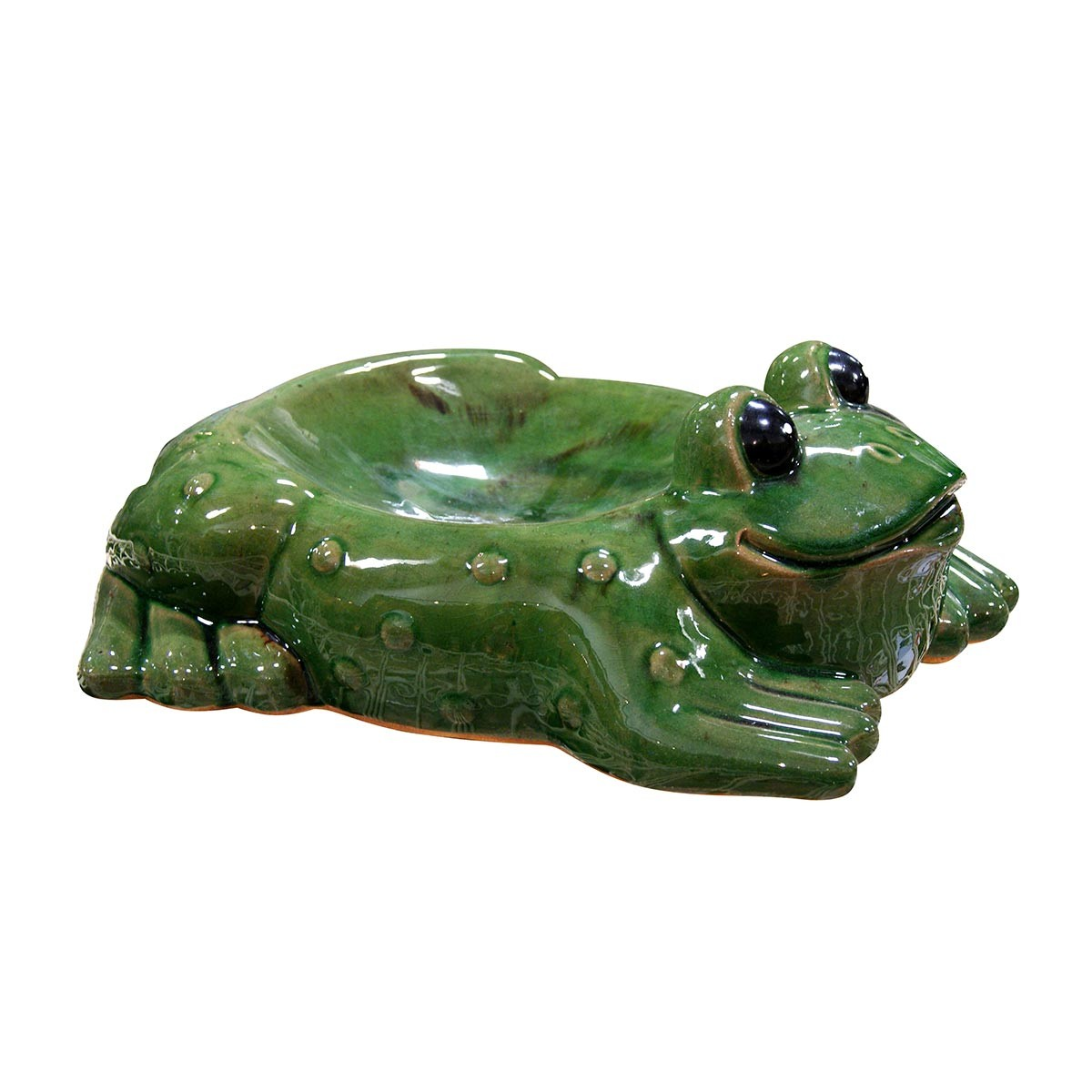 "6"" Tall Ceramic Frog Bird Feeder"