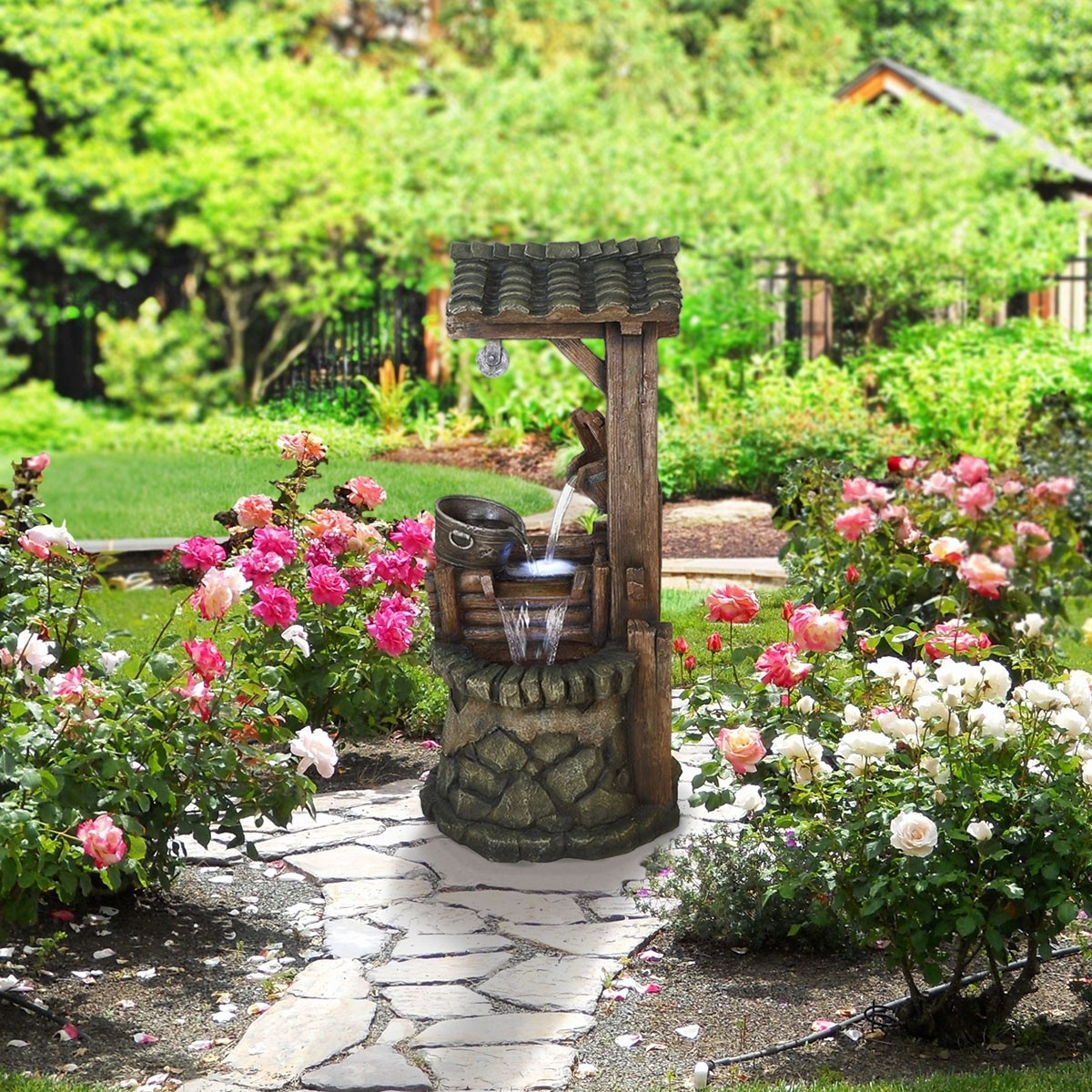 """50"""" Rustic Water Well Fountain with lights"""