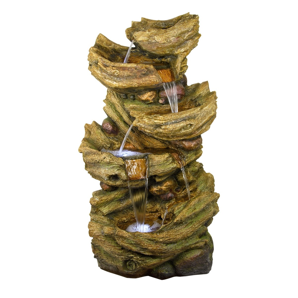 """53"""" 5-Tier Light Colored Tree Trunk Waterfall Fountain with LEDs"""