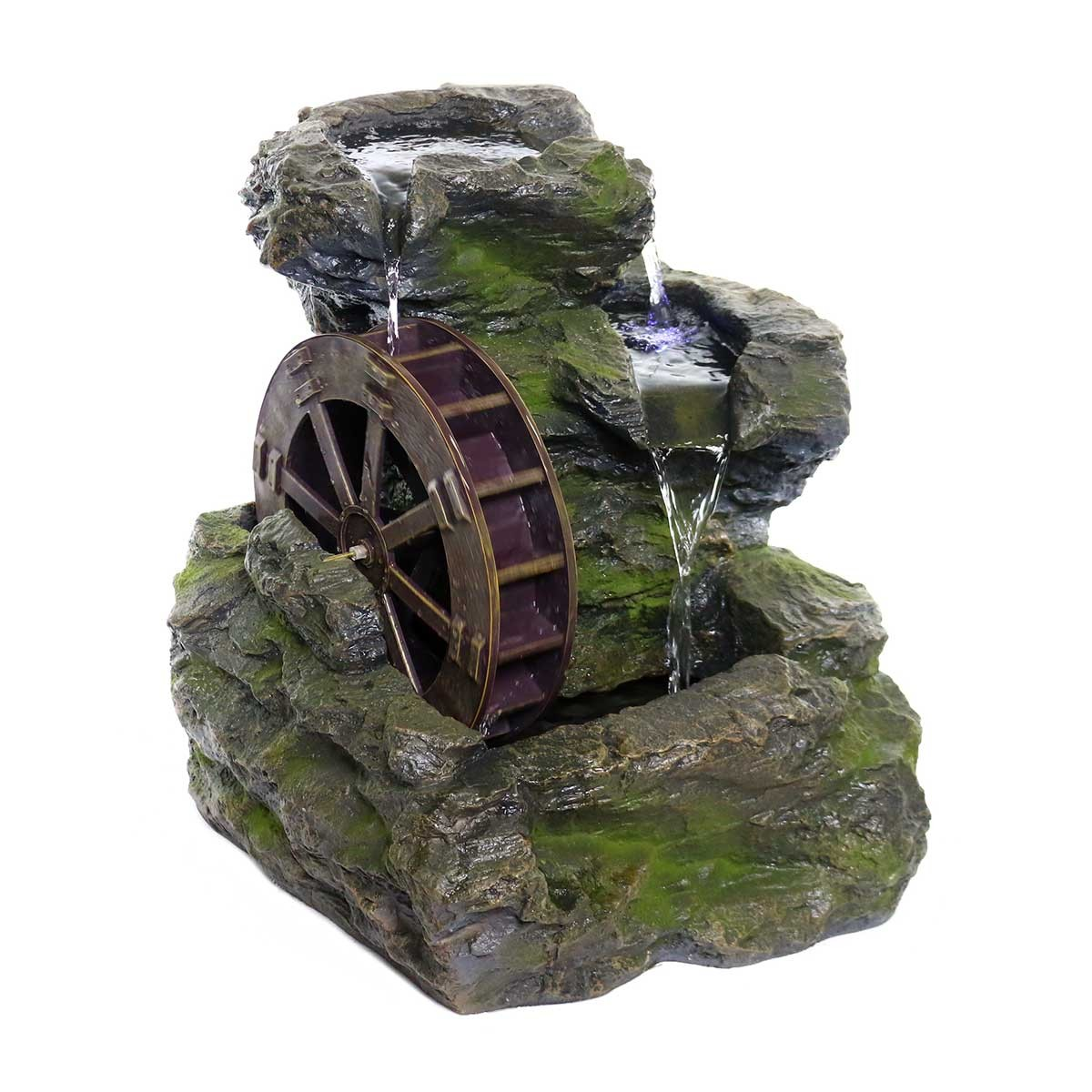 Rock Fountain with Wheel and White LED Lights