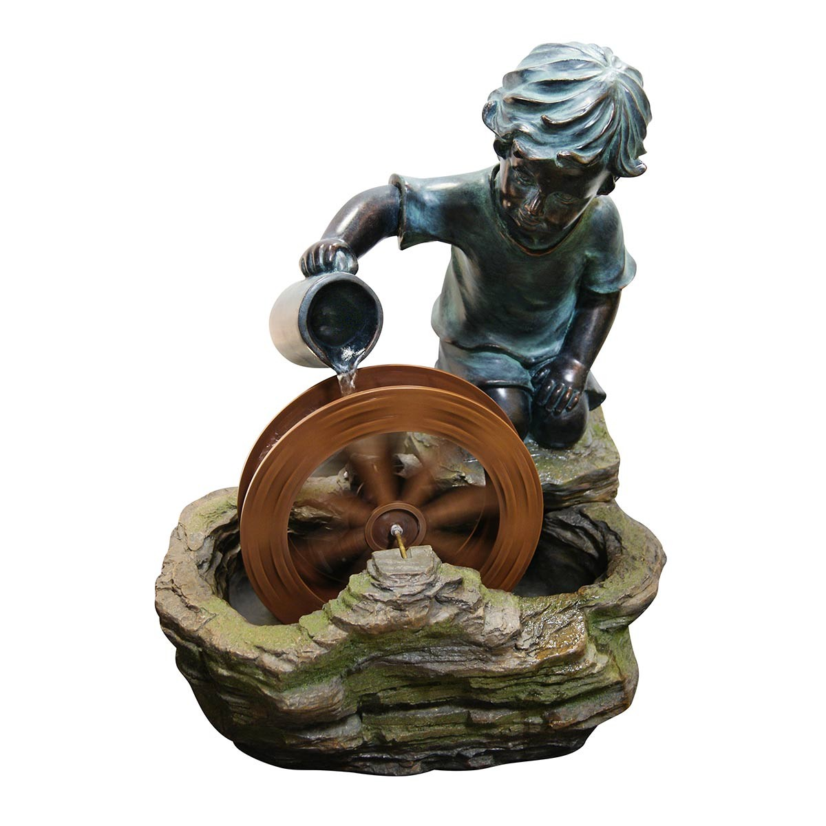 "Alpine 20"" Tall Boy with Water Wheel Fountain"