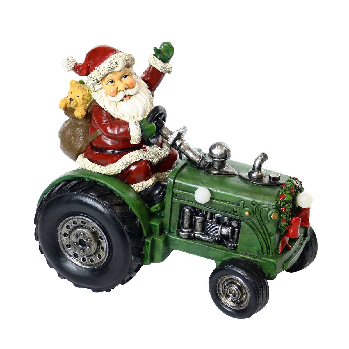 Santa on Tractor Décor w/Color Changing LED Lights