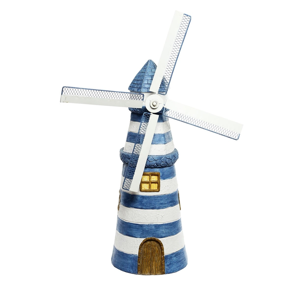 """30"""" Blue Striped Lighthouse Garden Statue with Windmill"""