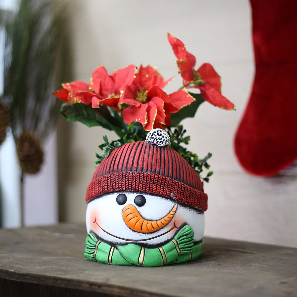 "7"" Snowman Flower Pot with Red Hat"