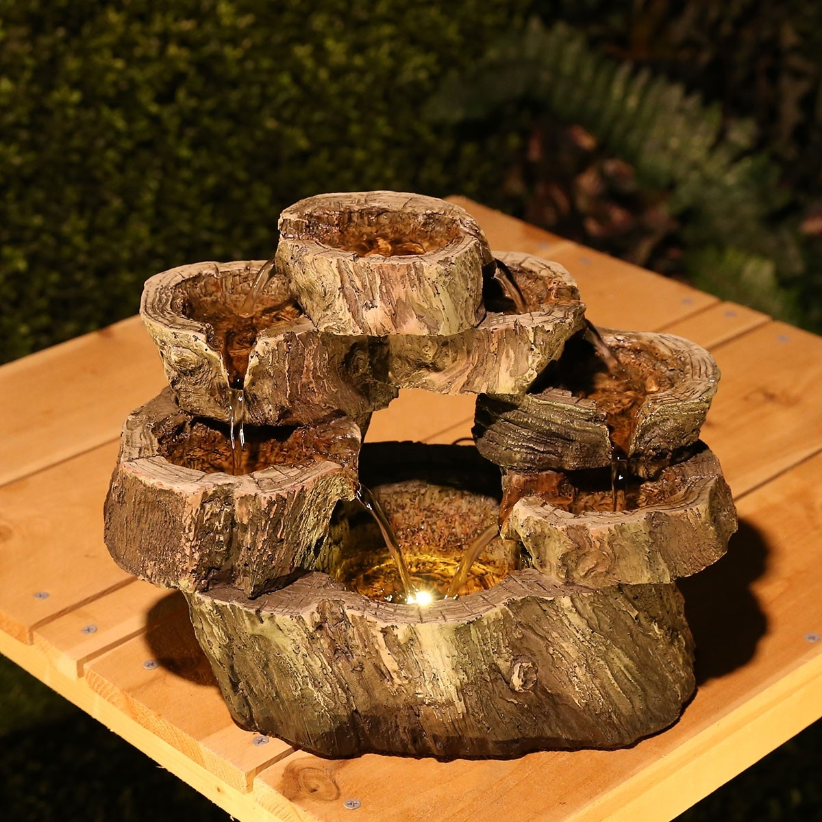 """10"""" Circular Tiered LED Tabletop Fountain"""