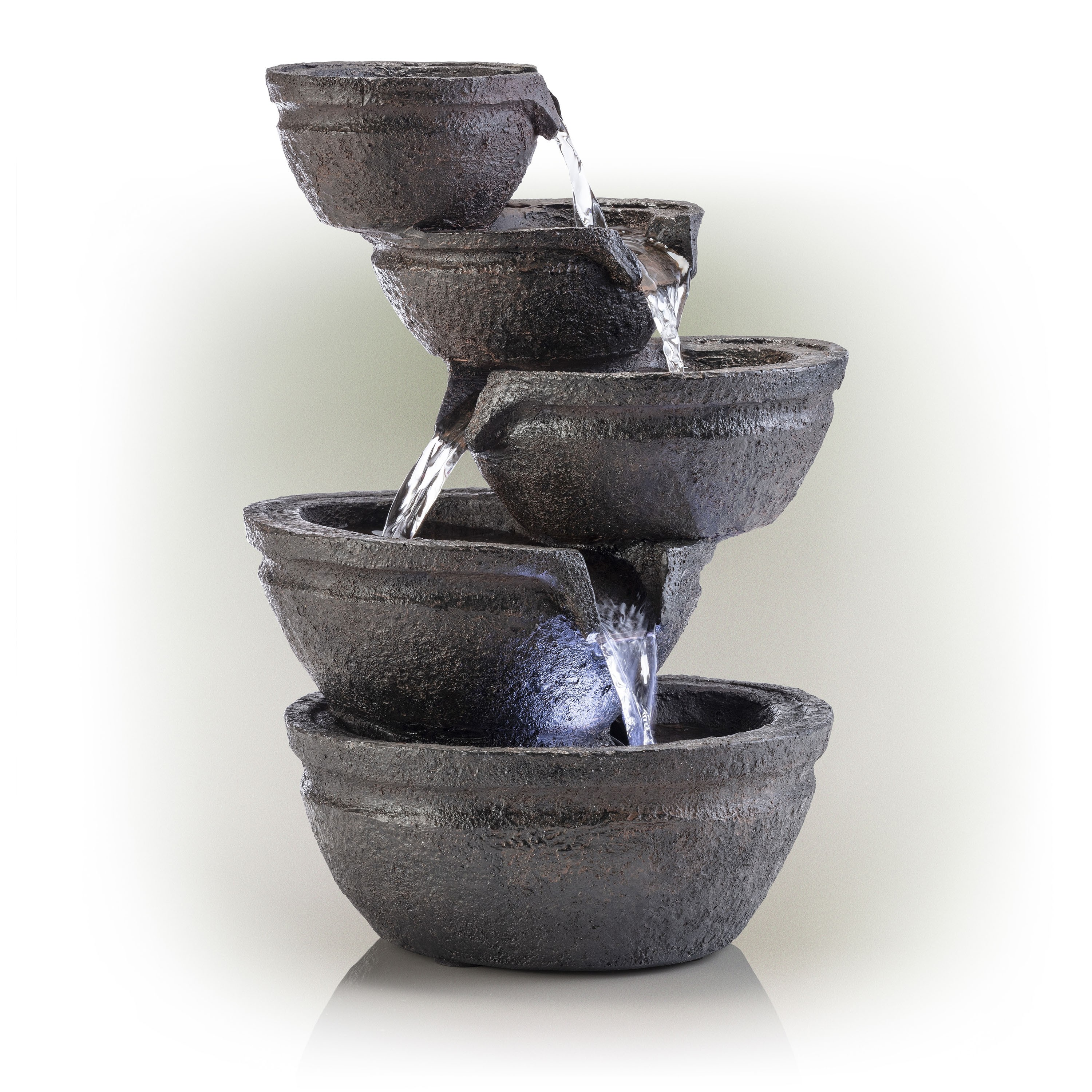 """13"""" Tired Bowls Fountain with White LED lights"""