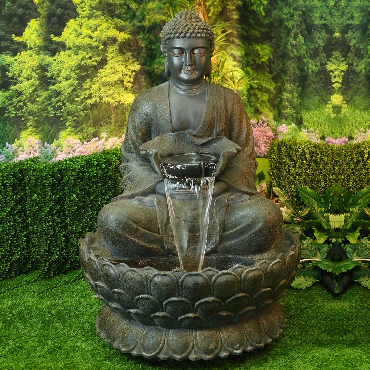 buddha zen fountain with led light garden and pond depot. Black Bedroom Furniture Sets. Home Design Ideas