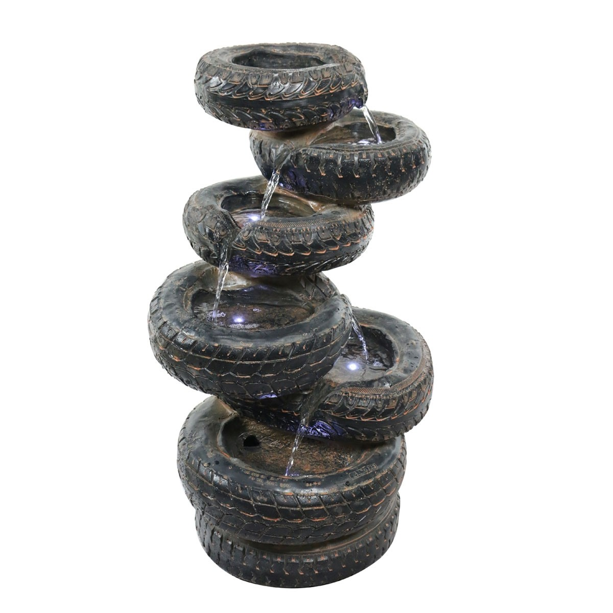 5-Tier Tire Cascading Fountain with LED Lights