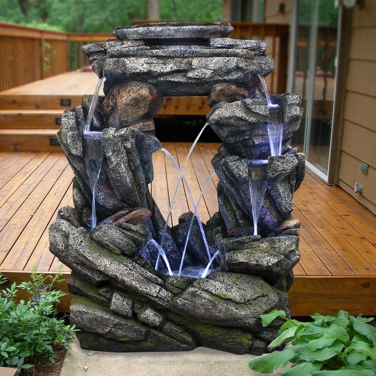 "52"" Open Rock Fountain with LED Lights"