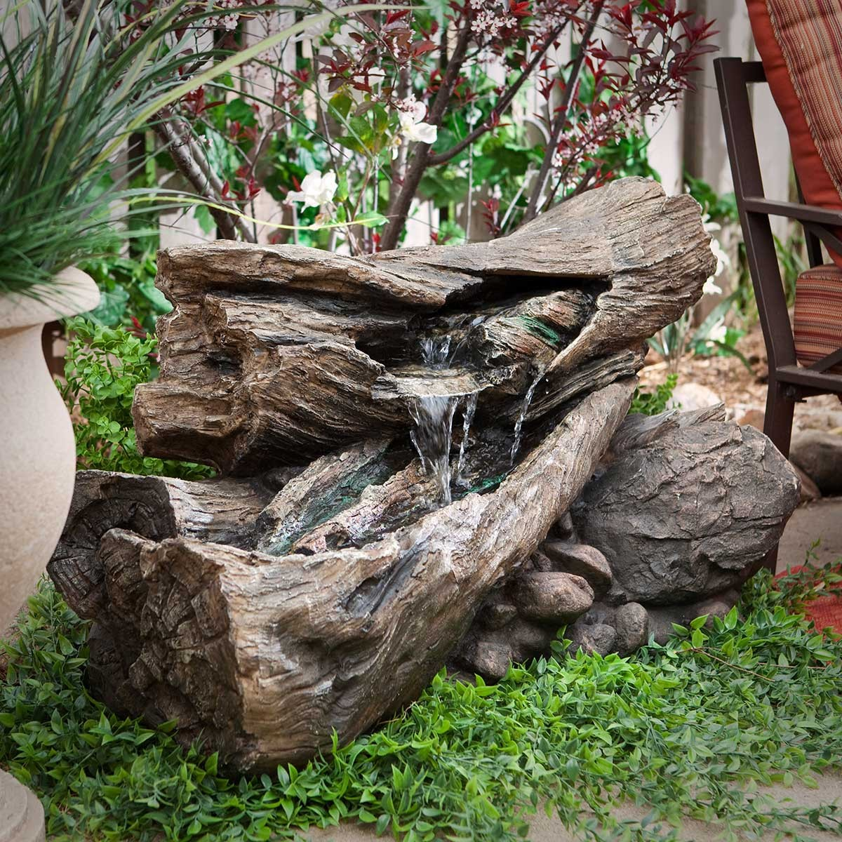 "Alpine 40"" Long Rainforest Forest Floor Fountain w/ LED Lights"