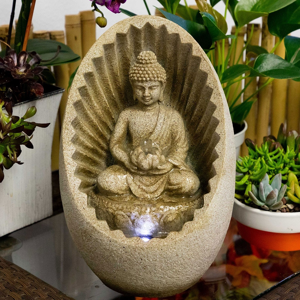 """11"""" Buddha Tabletop Fountain with LED Light"""