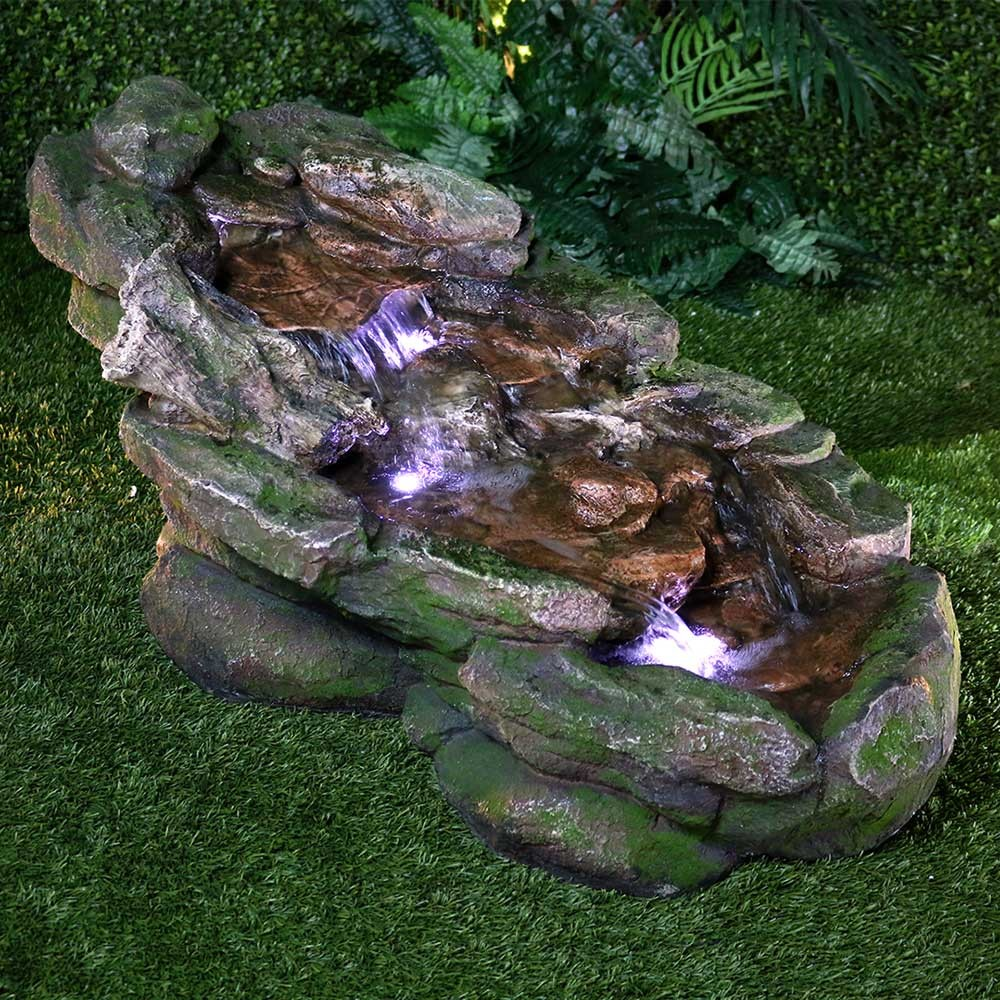 "21"" Tall Flat Rock Stream Fountain with LED Lights"
