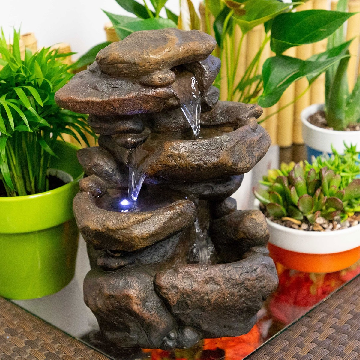 11 Tall Lighted 3 Tier Rock Fountain