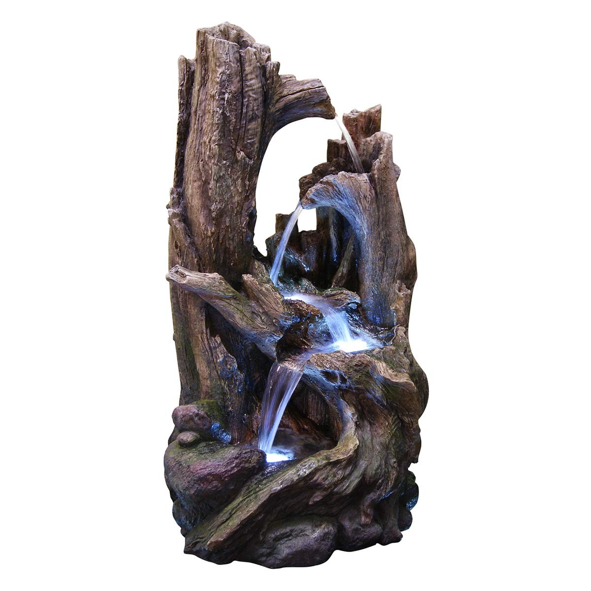 "40"" 5-Tiered Rainforest Tree Trunk Fountain with LED Lights"
