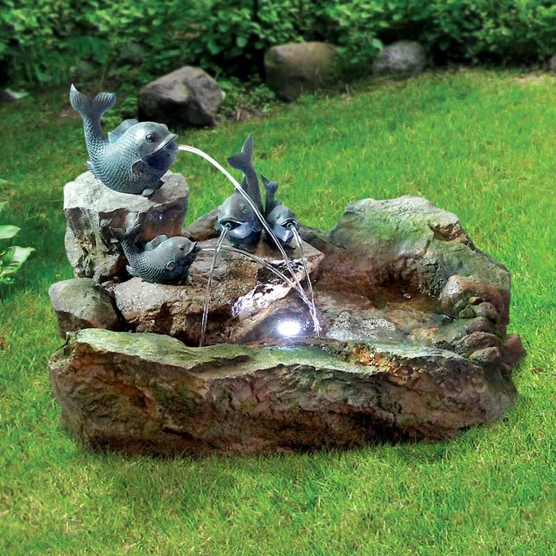 Fish Rock Fountain with LED Light