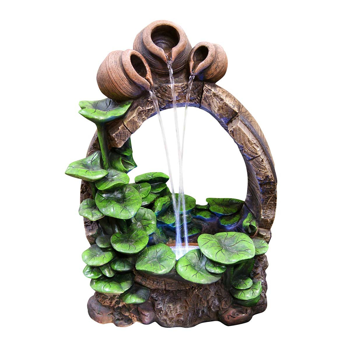 "22"" Cascading Jars Fountain with LED Lights"