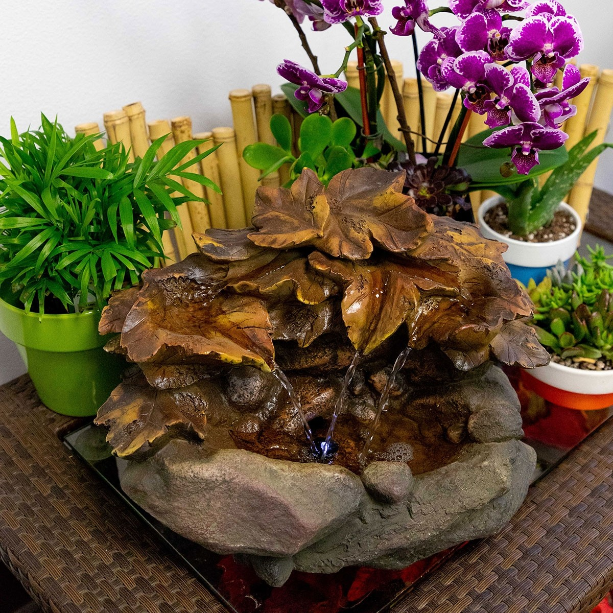 Cascading Leaf Tabletop Fountain with LED Light