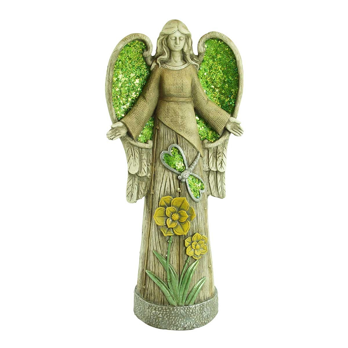 "24"" Angel Statue with Green Glitter Mosaic Wings"