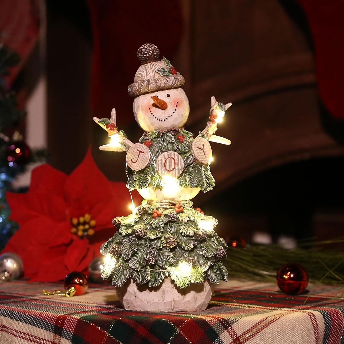 "12"" Pine Covered ""Joy"" Snowman Décor"