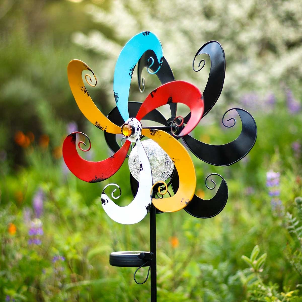 """51"""" Solar Multi-Color Windmill with Glass Ball"""