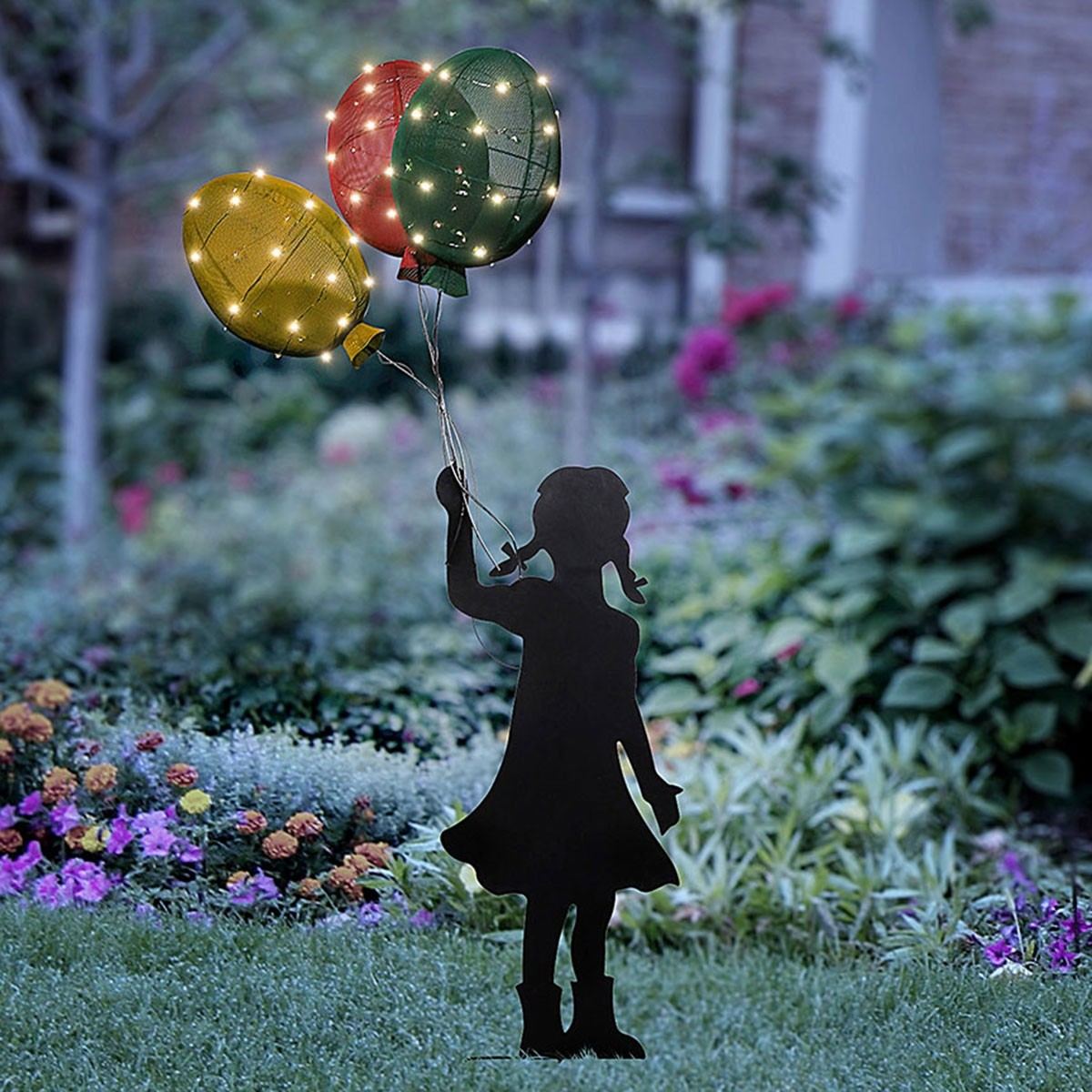 Solar Girl Silhouette with Colorful Balloons Garden Stake
