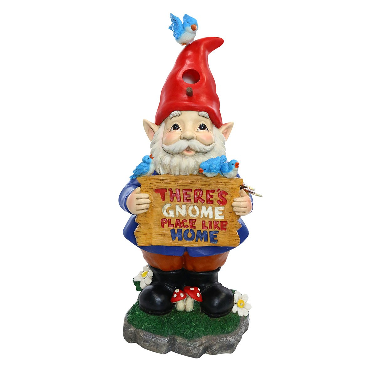 "25"" Solar 'There's Gnome Place Like Home' Gnome Statue"