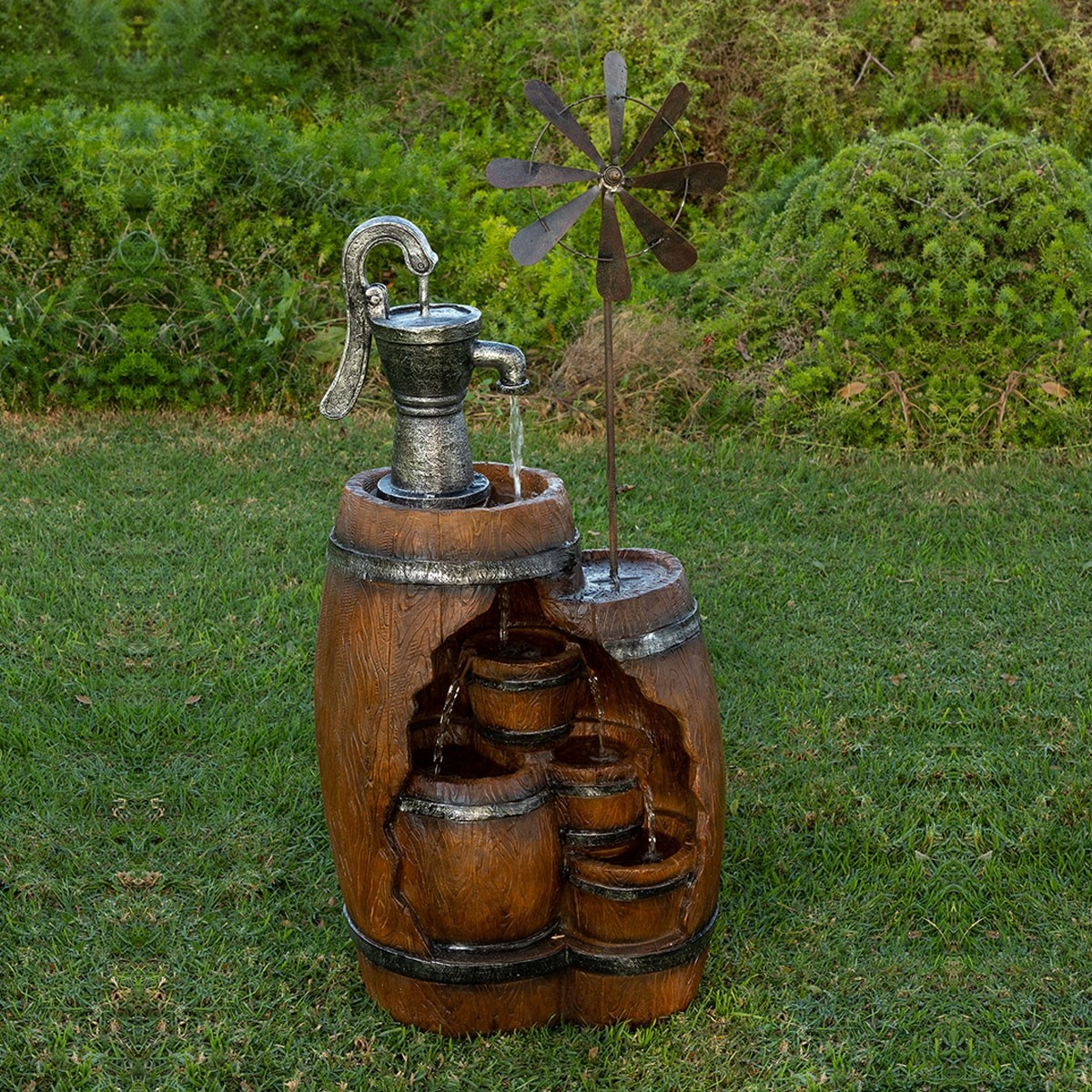 "40"" See-Through 4-Tier Barrel Fountain with Pump and Windmill"