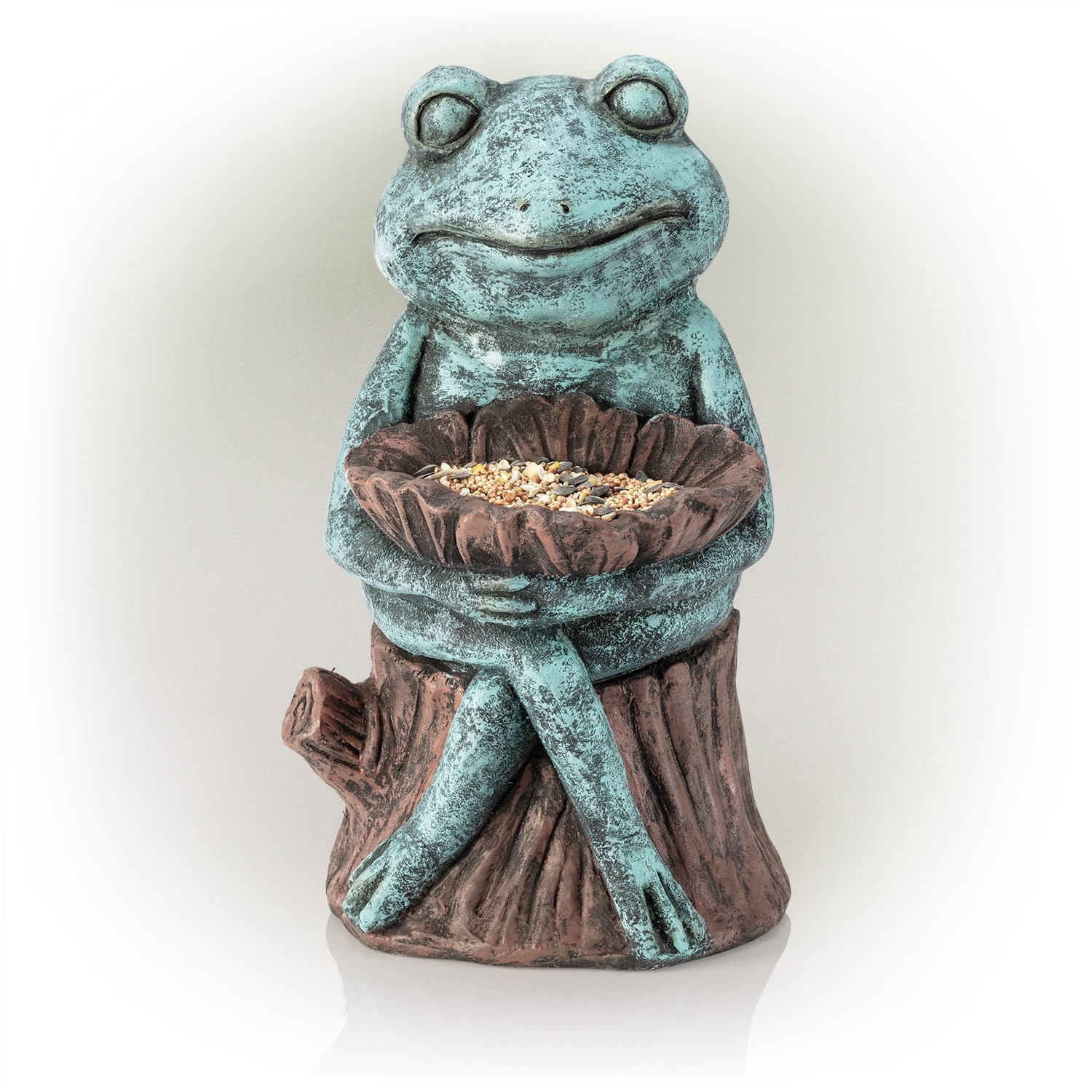 """16"""" Sitting Turquoise-Colored Frog Garden Statue with Flower"""