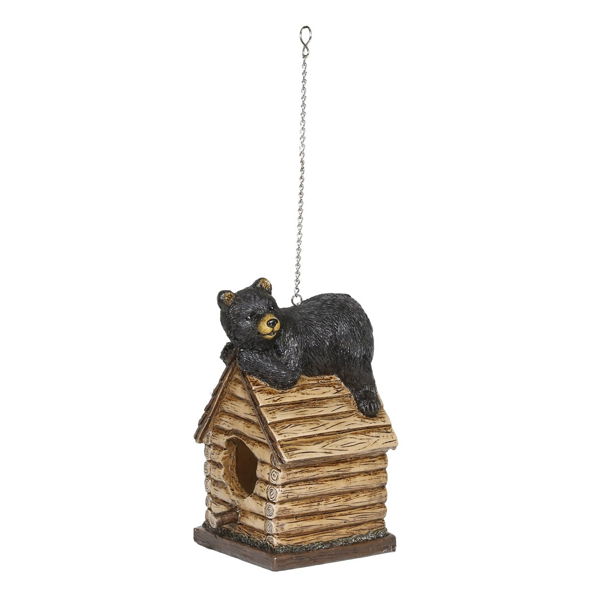 """14"""" Hanging Black Bear Laying on Top of Birdhouse with Back Door"""
