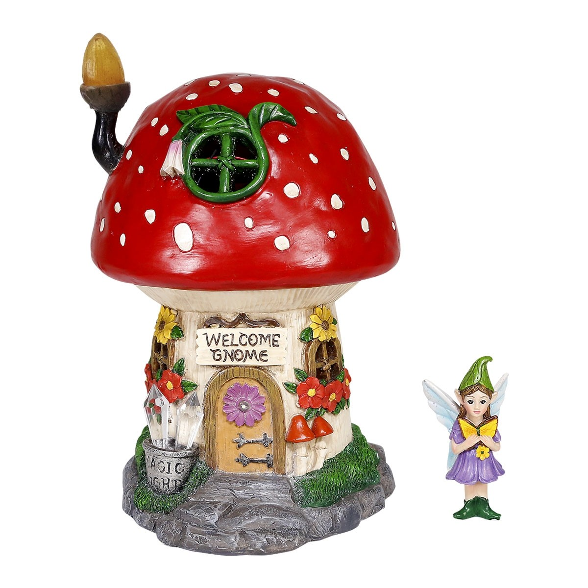 "10"" Solar Welcome Gnome Fairy House with Eolande Fairy Figure"