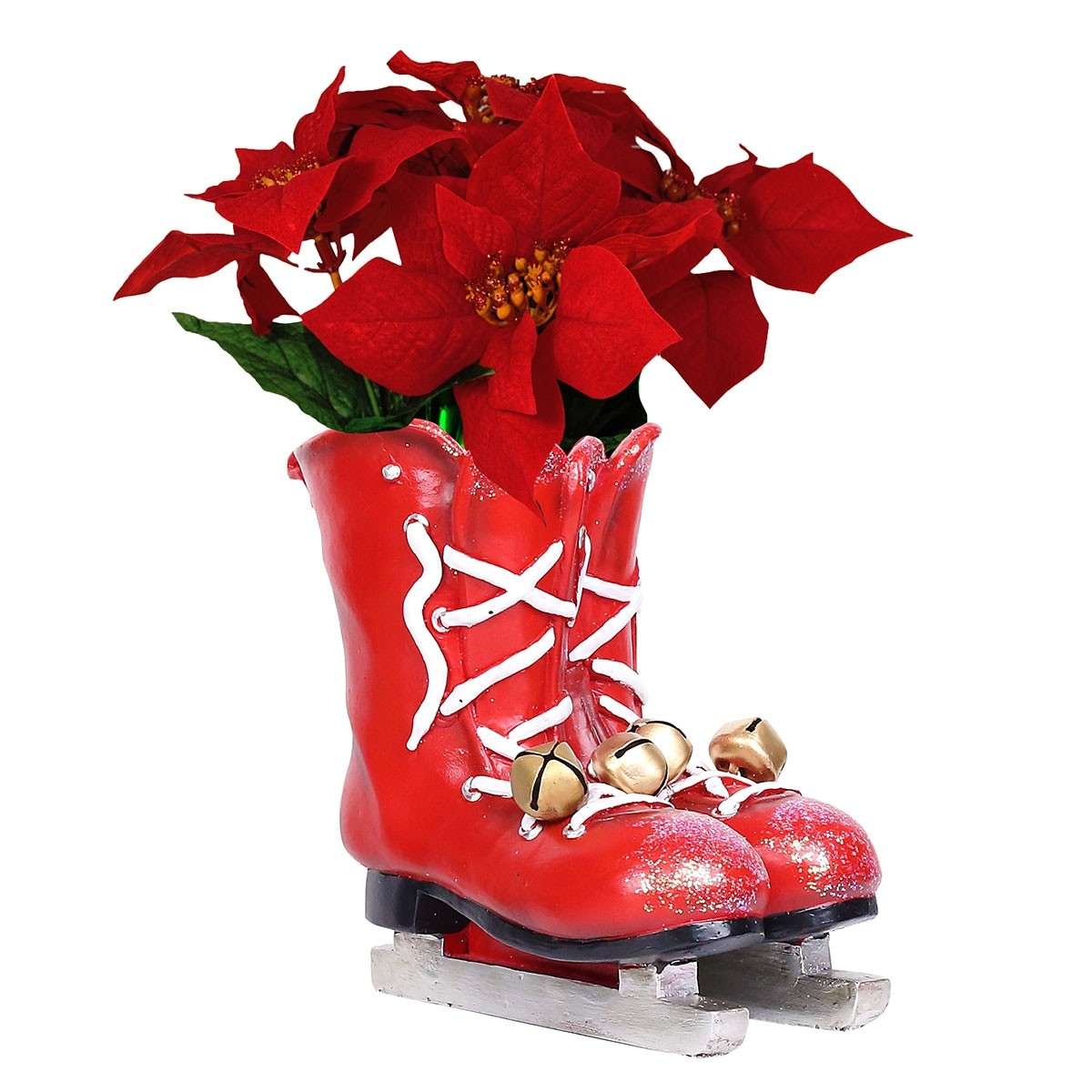 "8"" Christmas Red Ice Skates Planter with Metal Bells"