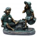 "14"" Tall Girl and Boy Playing on Teeter Totter Statue"
