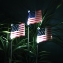 Solar USA Flag Stake with White LED Lights