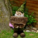 """22"""" Tall Gnome with Welcome Sign Statue"""