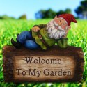 Garden Gnome Welcome Sign on Log Statue Ornament