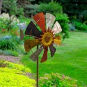 "70"" Tall Iron Windmill Garden Stake"
