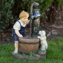 """25"""" Boy and Dog with Water Pump Fountain and LED Light"""