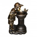 "27"" Boy Drinking Water Out of Fountain with LED Light"