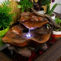 "9"" Tall Tabletop Leaf Fountain with LED Lights"