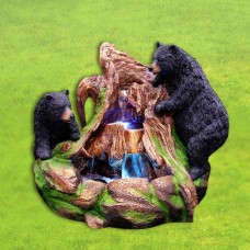 "23"" Tall 2 Bears Climbing on Rainforest Fountain with LED Lights"