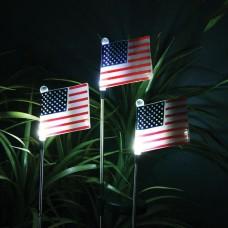 Solar USA Flag Stake with White LED Lights