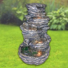 "Alpine 39"" High 5-Level Rock Pond Fountain with Lights"
