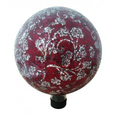 "10"" Mosaic Glass Gazing Globe with Flower Pattern - Red"
