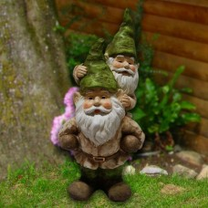"17"" Two Gnomes Playing Garden Statue"