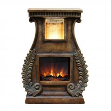 "28"" Tall LED Fireplace Fountain with Fern Detail"