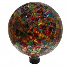 "10"" Mosaic Glass Gazing Globe  Red/Green"