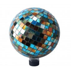 "10"" Mosaic Glass Gazing Globe Blue/Amber"