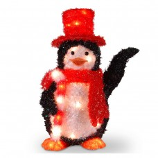 "22"" Tinsel Penguin with Candy Cane with 35 lights"