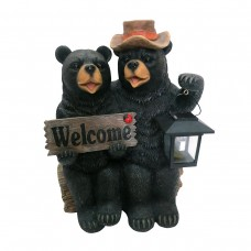 "15"" Solar Couple of Bears with Lantern and Welcome Sign"